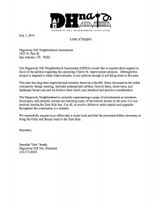 DHNA_Letter _of Support Cherry St Improvements